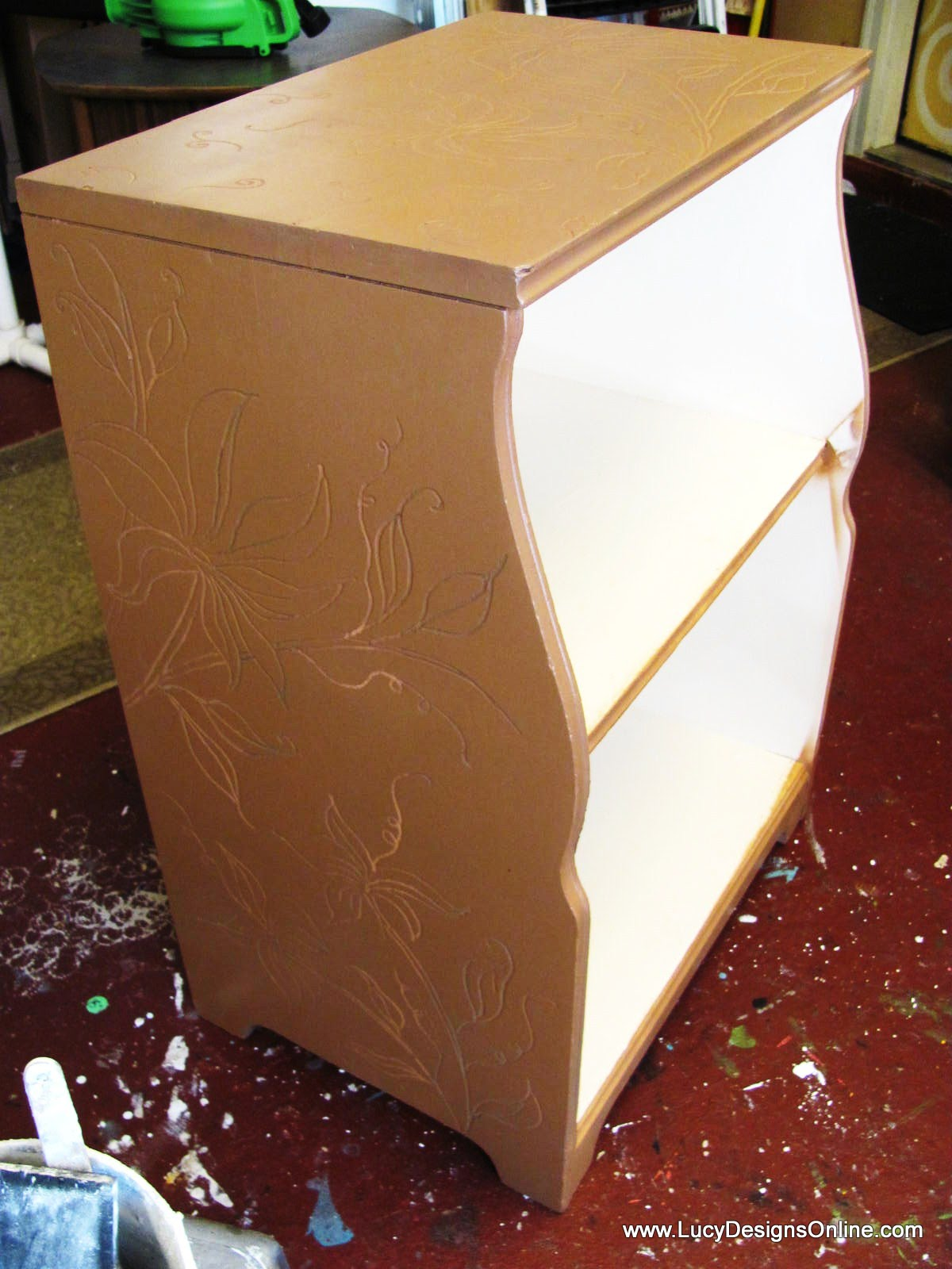 Dremel carving on nightstand table furniture with flowers and vine