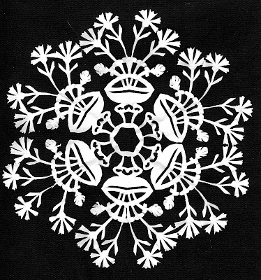 Paper, cut-out, cut, carnations, Sarah Myers, S. Myers, medallion, art, arte, scissors, fragile, plant, flowers, vase, white, snowflake, delicate