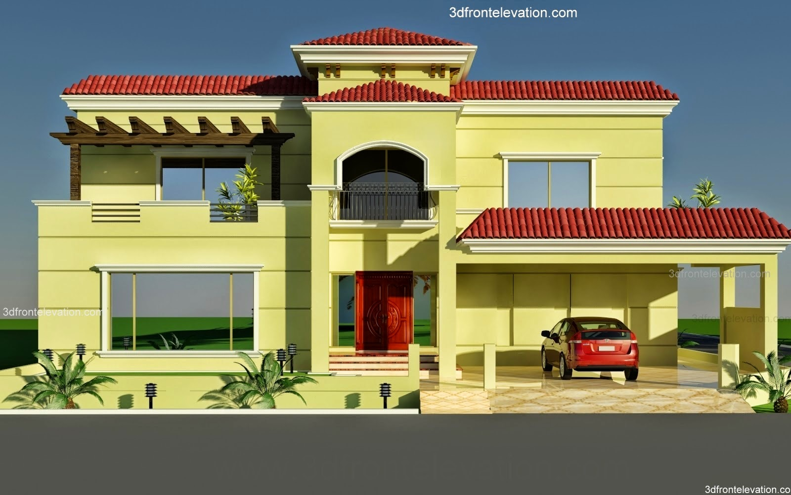 3d Front Elevation Lahore : D front elevation  wapda town kanal
