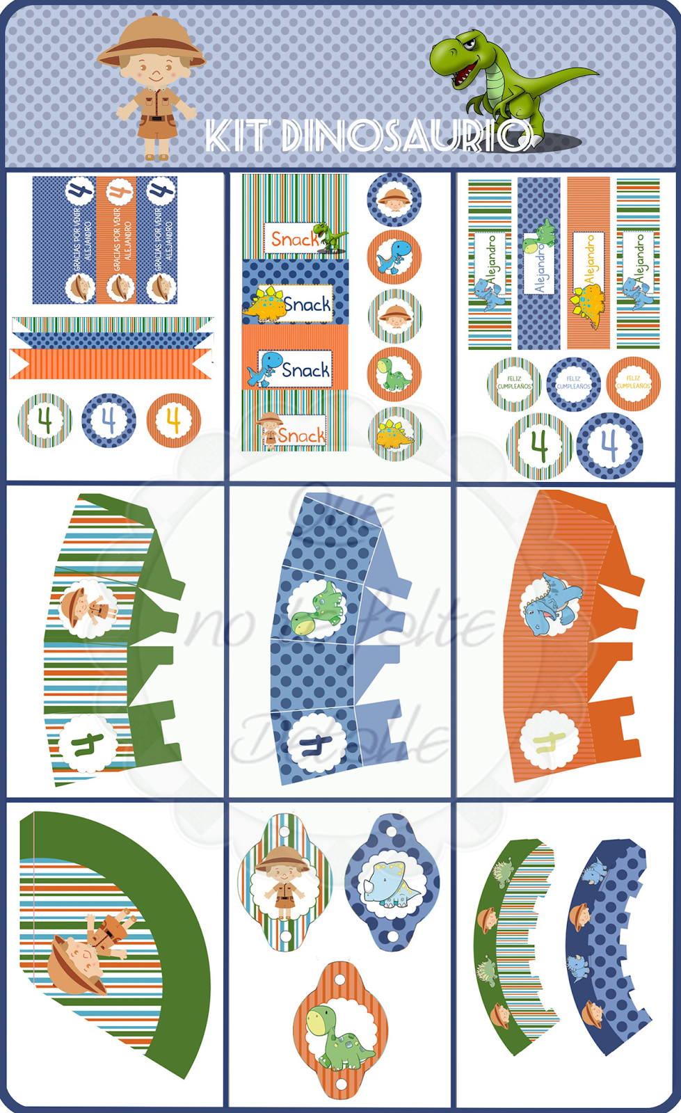 Diseño Kit Imprimible Fiesta Cumpleaños Dinosaurios