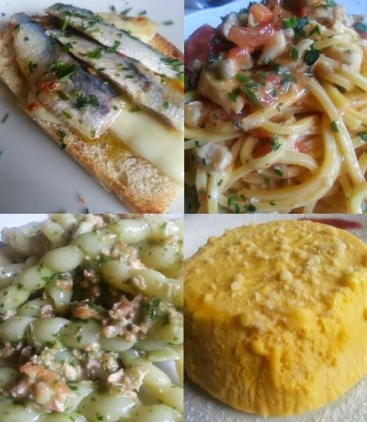Crostino mozzarella e alici marinate  Tonnarelli gallinella e pomodoro fresco Fusilloni salmone e pesto fatto in casa Semifreddo allo zabaione