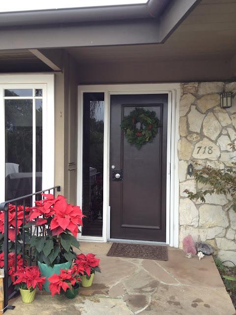Mid-century modern Christmas front door