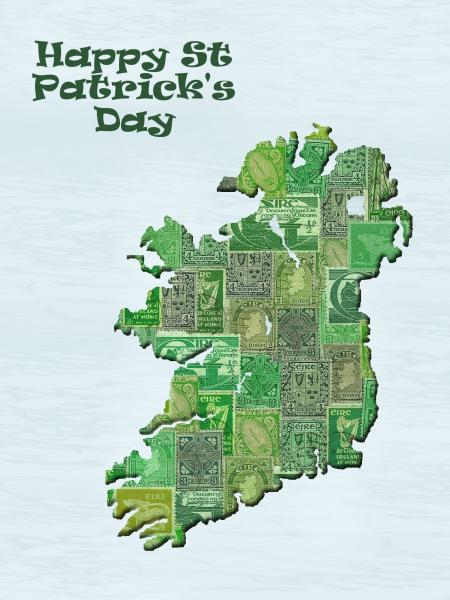 map of ireland made of stamps