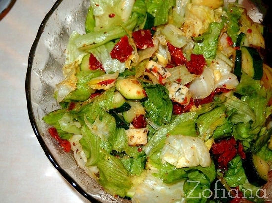 lettuce zucchini blue cheese and dried tomatoes