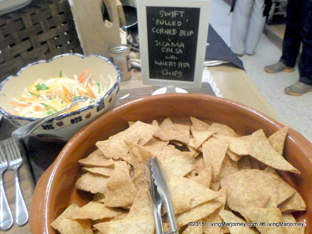 Swift Pulled Corned Beef Jicama Salsa with Wheat Ata Chips