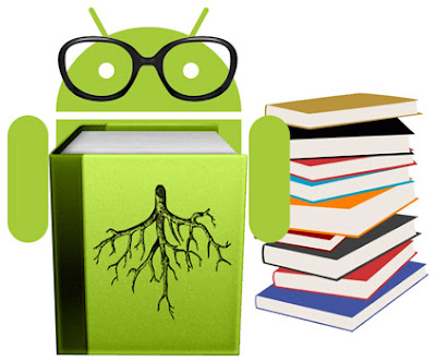 green-android-robot-with-glasses-standing-near-a-piles-of-books