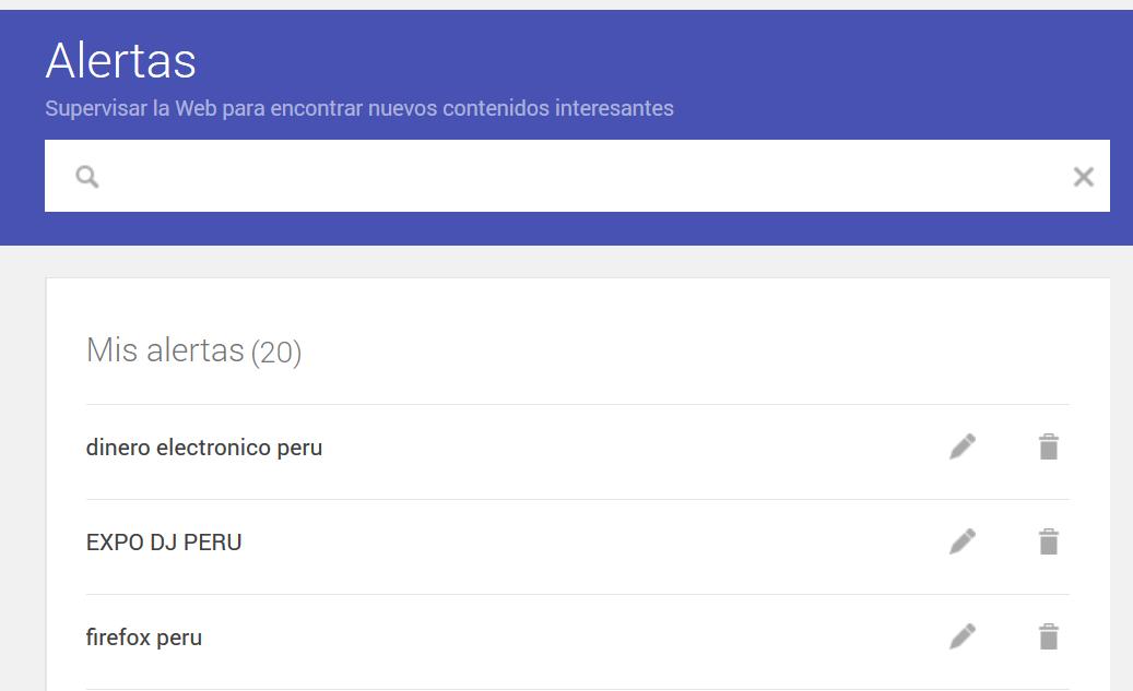 Servicios de Google: Alertas