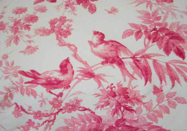 Toile du jouy pillowcase on bed