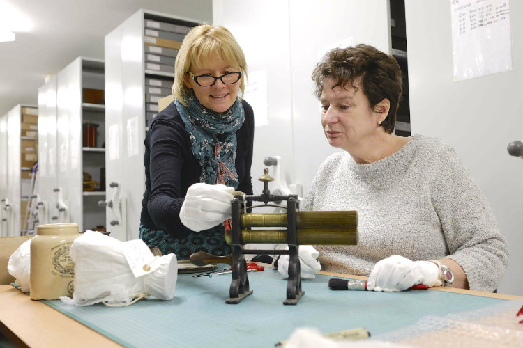 Scarborough Museums Trust Volunteer Manager Julie Baxter (left) and volunteer Lyn Elliot  at work in the Scarborough Collections