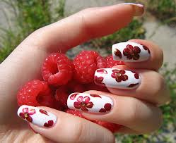 White Nail Art with Red Flowers