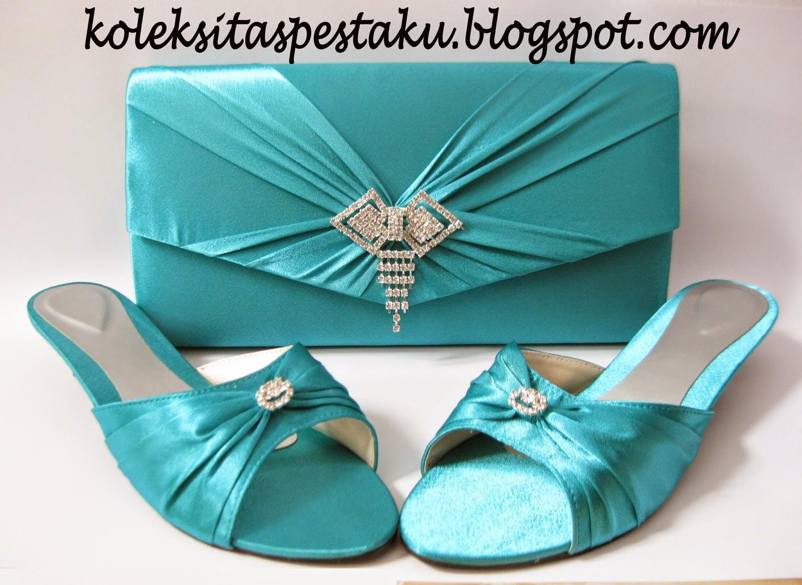 Biru Tosca Tas Pesta Dan Sepatu Pesta Pesanan Pelanggan