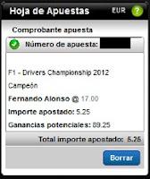 Apuestas Deportivas Rosberg Formula 1 – Campeonato de Pilotos 2012 Alonso Titanbet