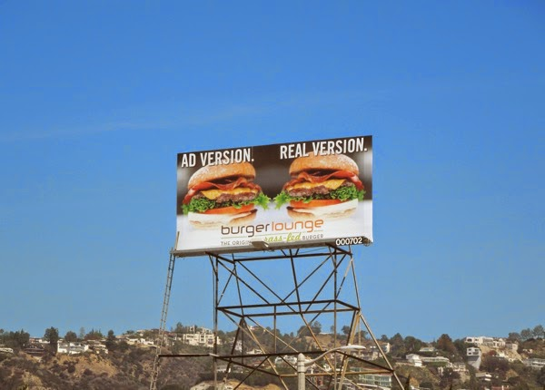 Burger Lounge Ad version Real version billboard