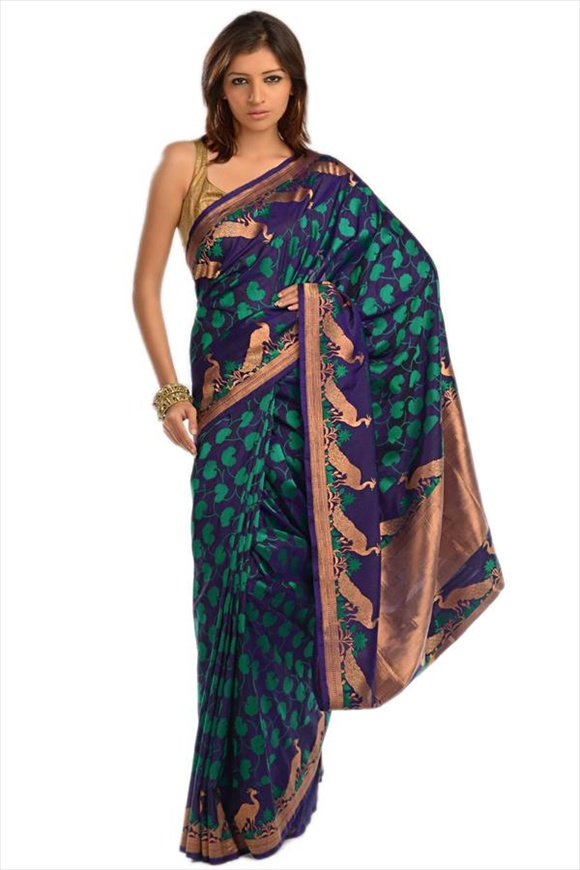 Royal Blue Kattan Silk Banarasi Saree