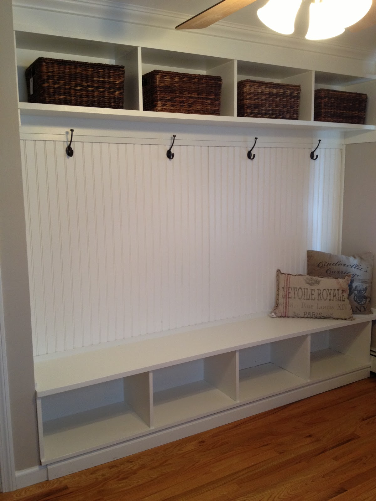 Gracie blue office update mudroom bench complete for Mudroom office