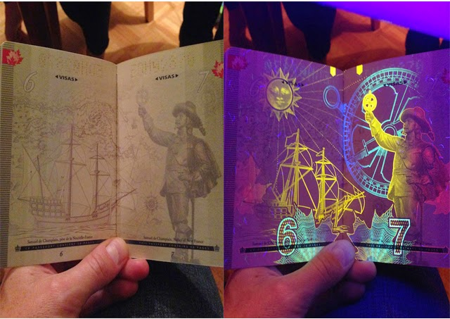 Hidden UV Light Art inside Canada's New Passport