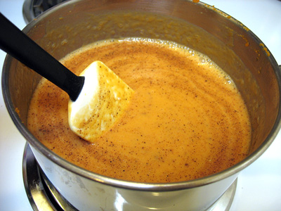 Soy milk added to pumpkin puree.