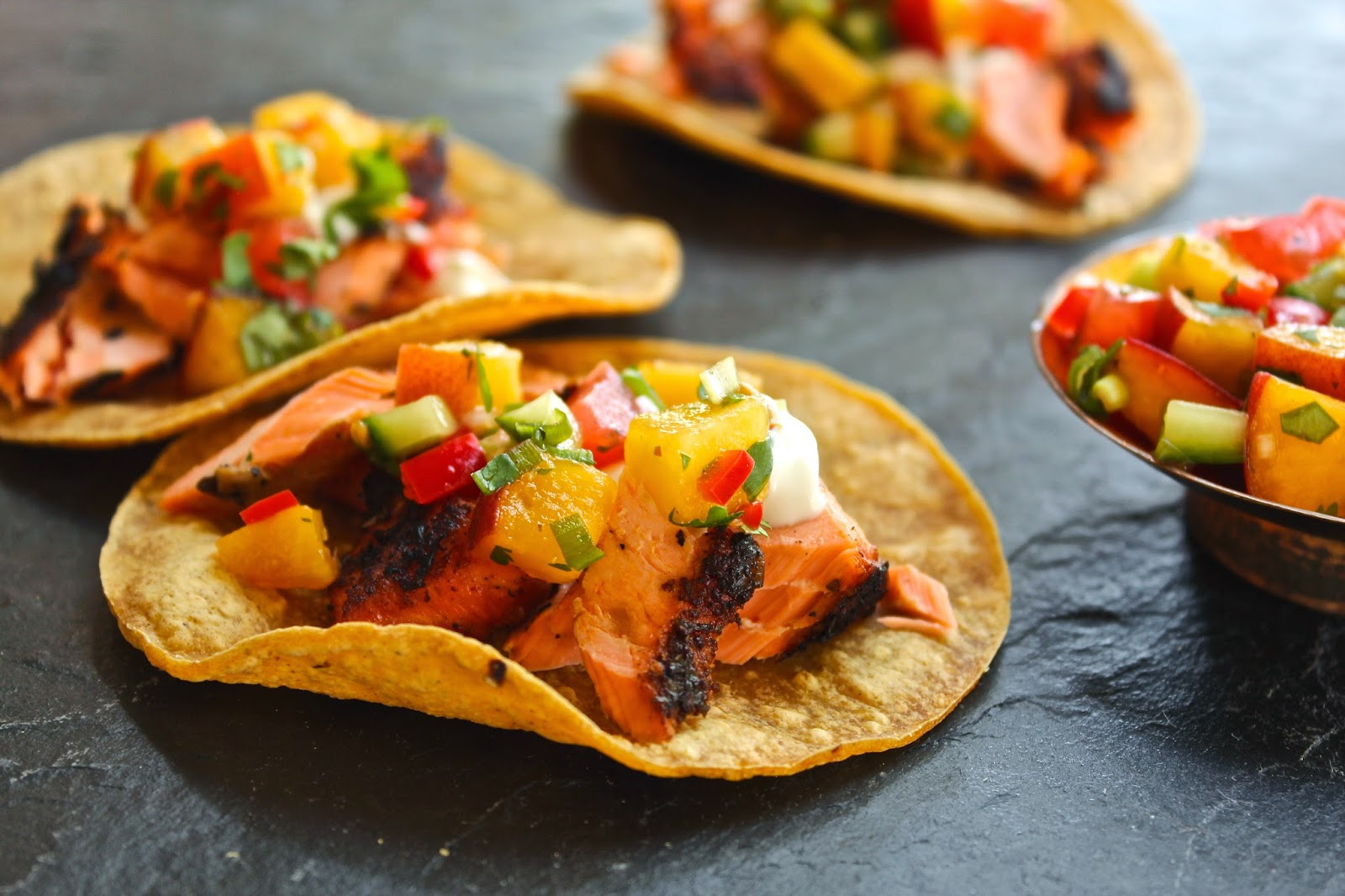 Grilled salmon tacos with peach & cucumber salsa | lieslicious