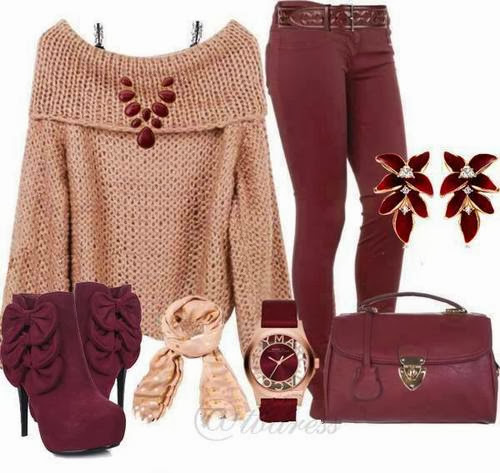 Adorable handwoven oversize sweater, purple pants, handbag and high heels for fall