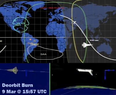 Shuttle Discovery: Deorbit burn as the vehicle flies over the West side of Australia – 9 March 2011 at 15:57 UTC. NASA, 2011.