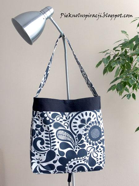 Własnoręcznie szyte torby na zamówienie, do kupienia, na prezent, dla kobiety, kup teraz, torba, torebka, na ramię, nietypowa, czerń, biel, Justyna Wójcik, ikea