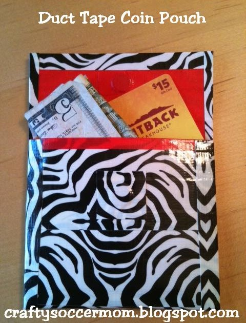 Crafty soccer mom duct tape coin pouch for Super easy duct tape crafts