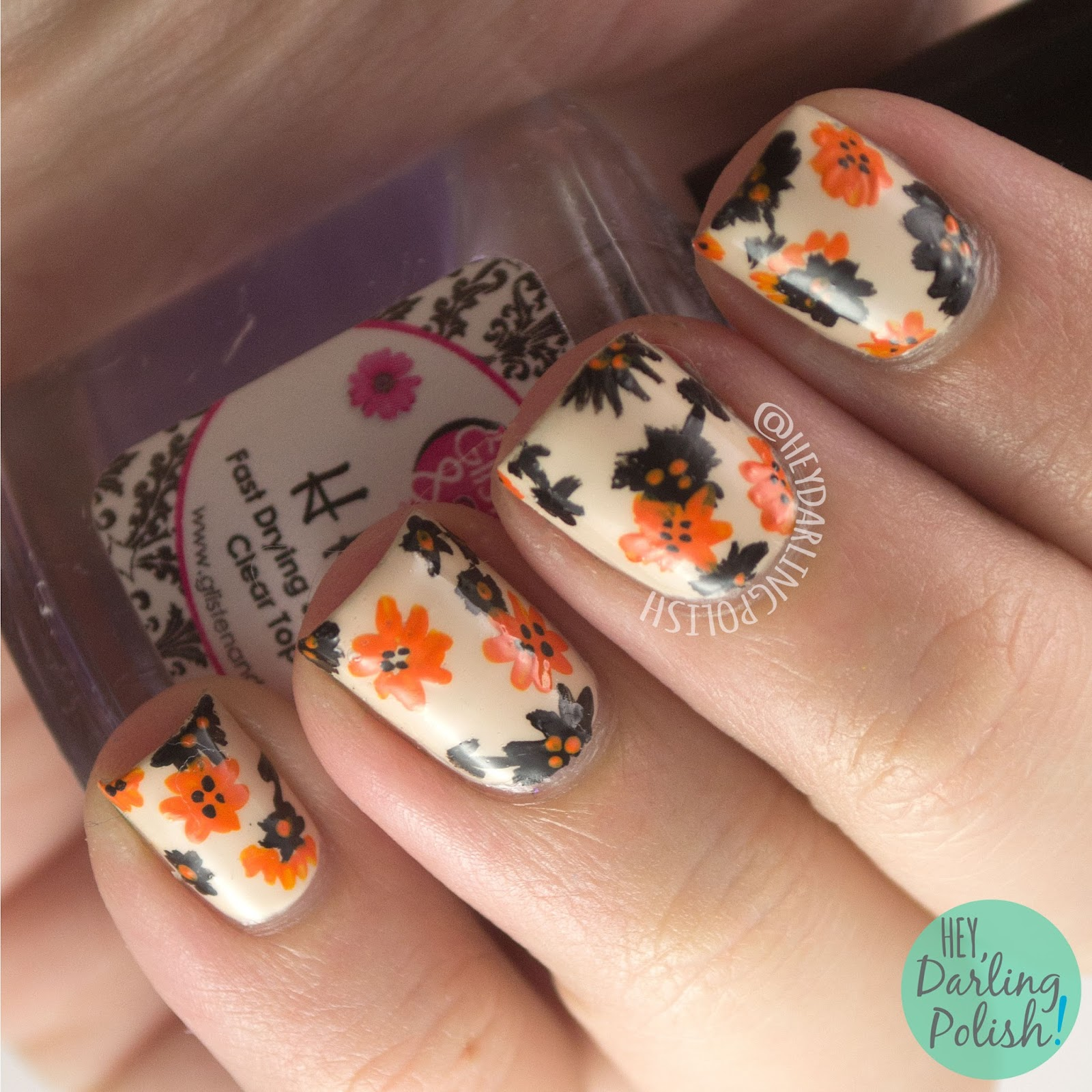nails, nail art, nail polish, floral, flowers, hey darling polish, orange, grey, 31 day challenge, 31dc2014