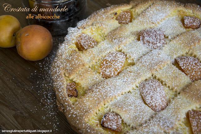 crostata di mandorle alle albicocche senza glutine con frolla alla menta senza uova