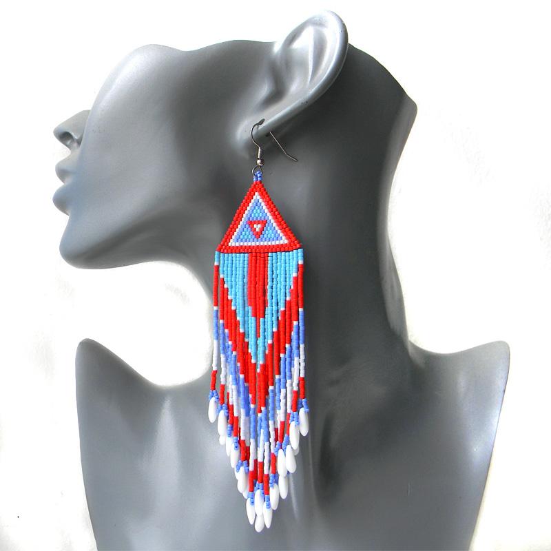 купить красные серьги крупные длинные сережки из бисера висячие