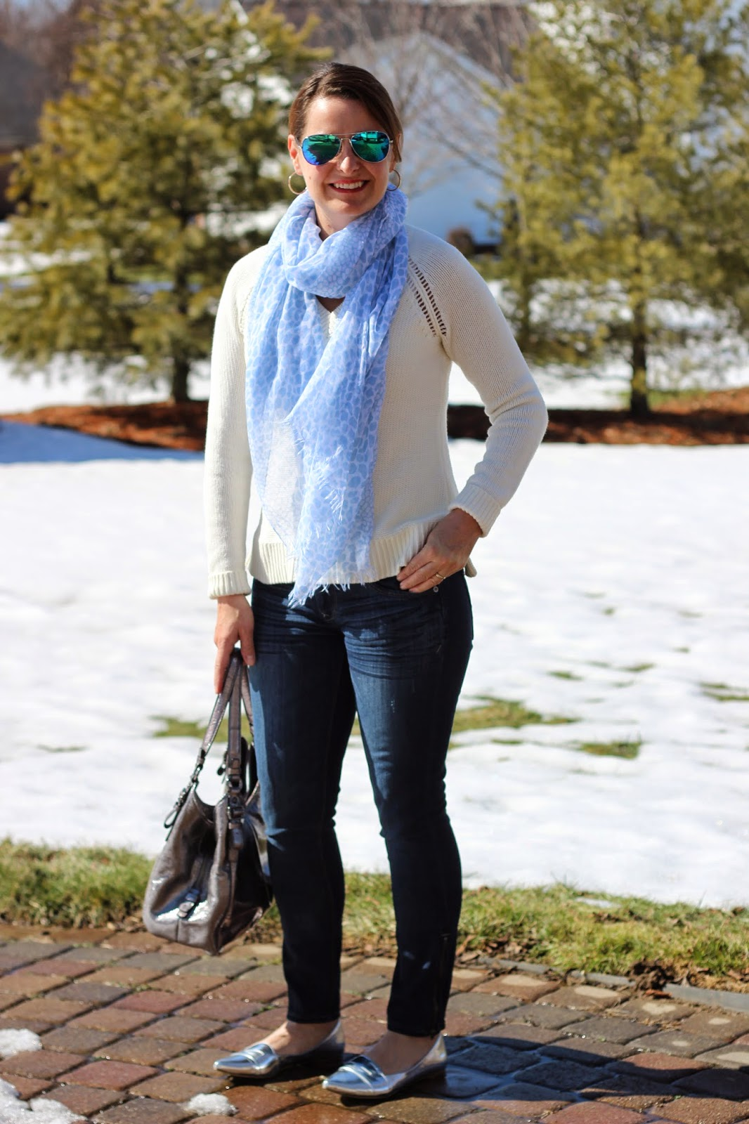 Silver, blue, and white spring outfit