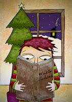 lectura, leyendo, navidad, Postal, libro