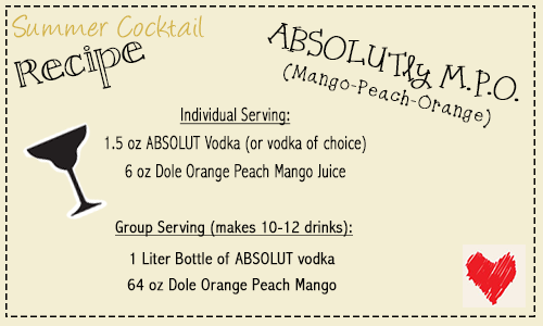 Absolutly MPO Vodka recipe card | Cordier Event Planning