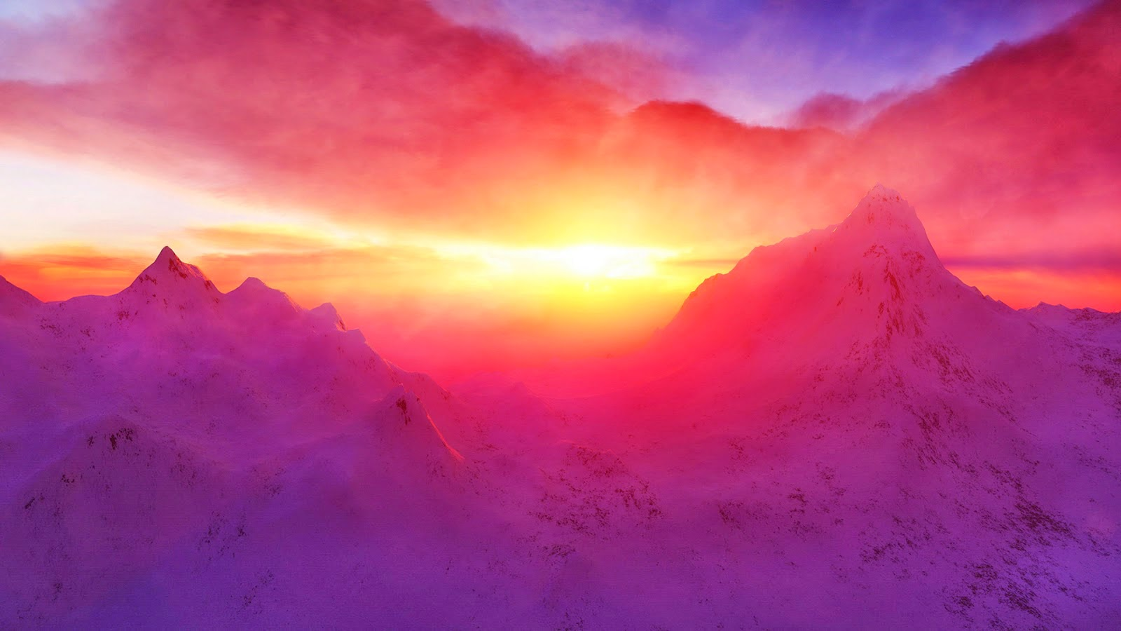 What bandnaam Pink Mountaintops betekent - sunset-snowy-mountains-wallpaper