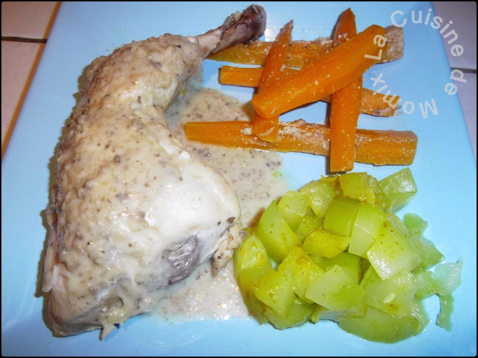 La cuisine de momix cuisses de poulet sauce champignons et sa garniture de l gumes - Cuisse de poulet a la poele ...