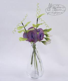букет душистый горошек керамика, ботанические копии цветов на заказ, букеты, красивые цветы