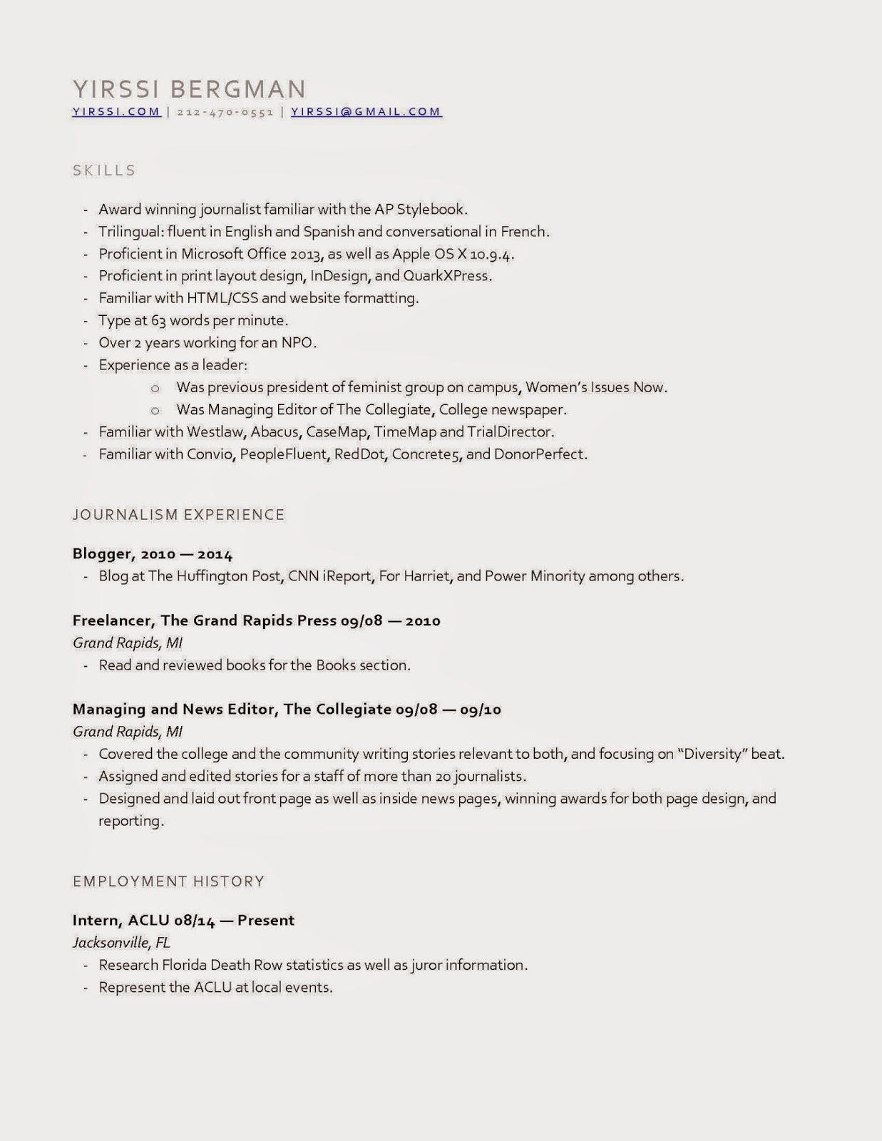 Yirssi: Curriculum Vitae