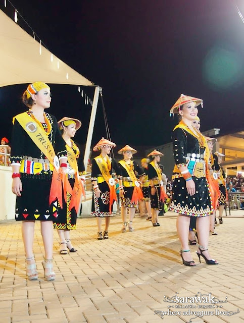 Lun Bawang lasses parading at the beauty pageant - Sarawak Malaysia Borneo