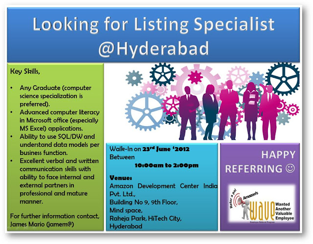 Referral openings for Listing Specialist in Amazon, Hyderabad