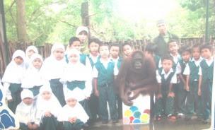 foto bareng orang hutan