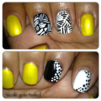 Yellow Black White Lines Polka Dots Nails