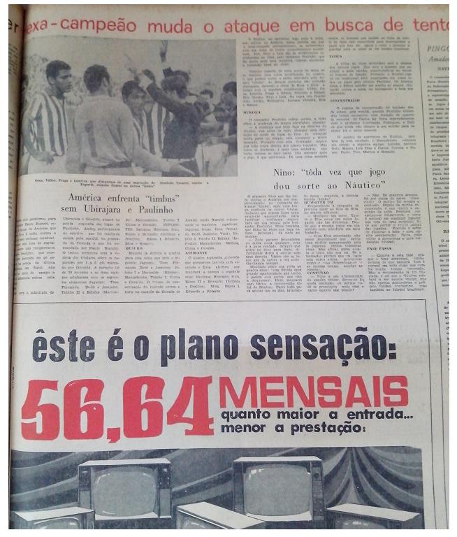 MEMÓRIAS ESMERALDINAS: Náutico 1x1 América em junho de 1969