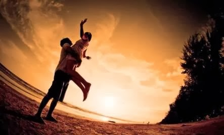 Healing Container for Love - romance love sunset relationships man woman jump