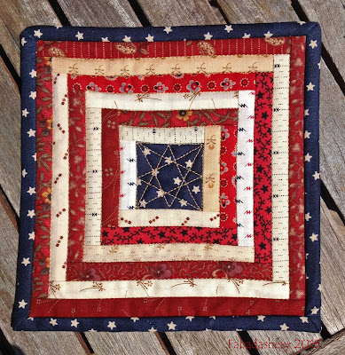 "Fourth of July Mug Rug 6"" x 6"""