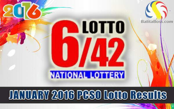Image: January 2016 PCSO Lotto 6/42