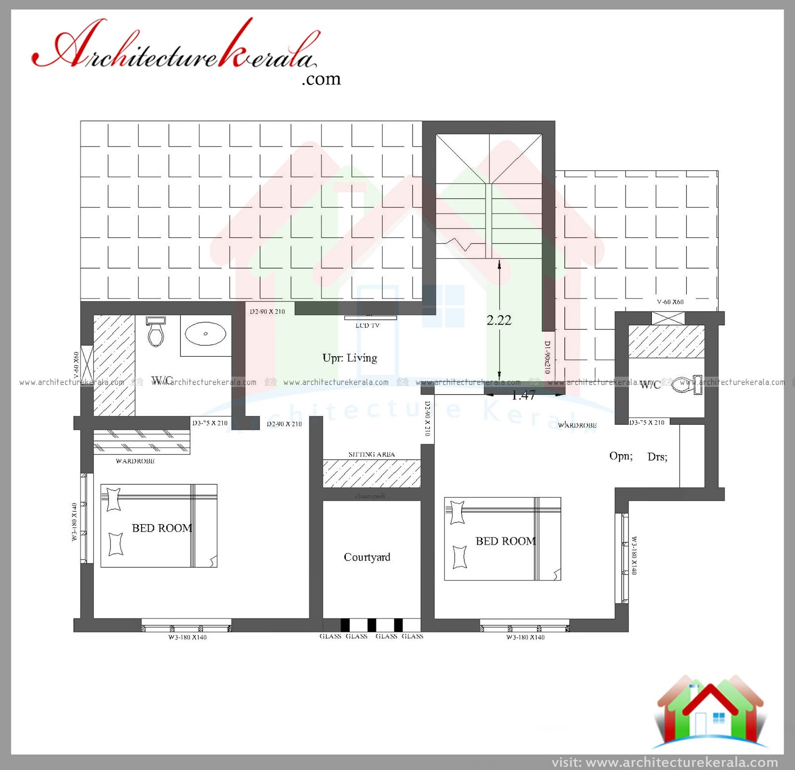 Three bedroom house plan and elevation in 2000 sq ft for Architectural plans