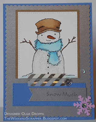 Snowman winter Christmas card using MFT Sketch 265