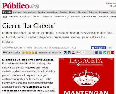 La web de Público recoge el cierre de La Gaceta