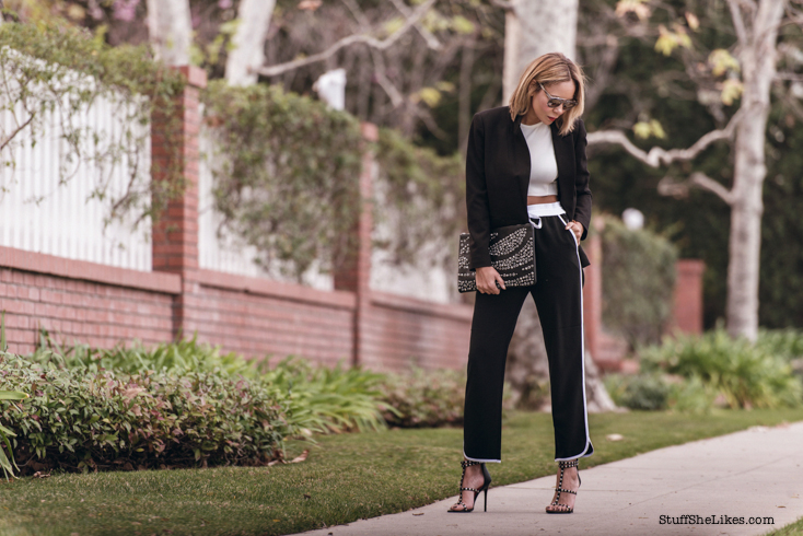 studded heels, Tamar braxton clothing line, tamar braxton, balck blazer, studded purse, croptop, zara, vera wang, blogger, LA blogger, Fashion Blogger, top blogger, top fashion blogger, best fashion blogger, black fashion blogger