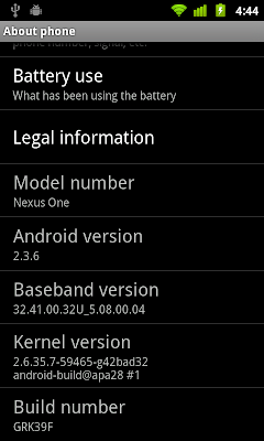 Nexus One run Gingerbread 2.3.6