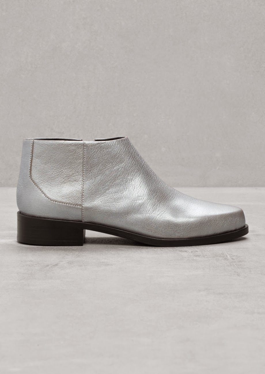 stories silver ankle boots,